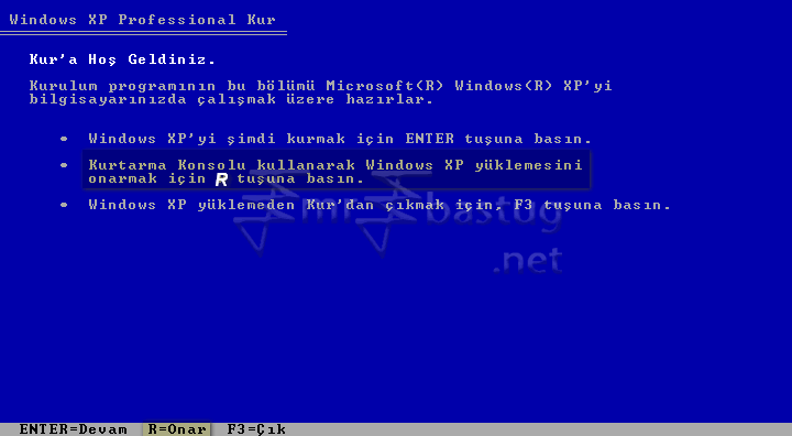 Windows XP Recovery Console Kurtarma Konsolu